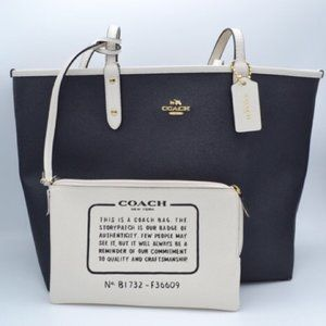 EUC Coach Reversible City Tote Black and White
